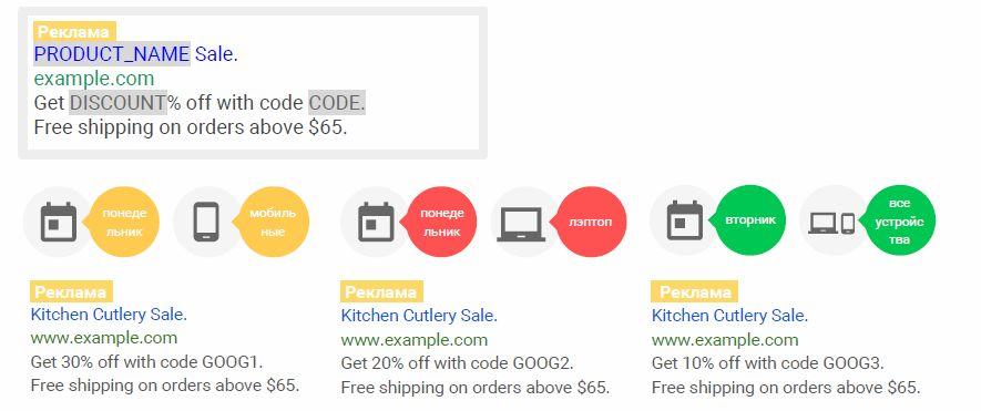 Пример фида для модификации объявлений по устройствам и времени в Google AdWords